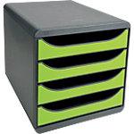 Module de tiroirs Exacompta Big Box Classic 4 26,7 (H) x 27,8 (l) x 34,7 (P) cm Gris, vert