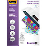 Pochettes de plastification 80 Microns Fellowes A3 29,7 (H) x 42 (l) cm Transparent   100