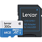 Carte mémoire Micro SD Lexar CL10 300x + Adaptateur 64 GB Noir