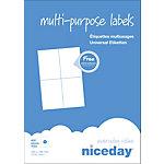 Étiquettes multifonctions Niceday 980470 Blanc 400 étiquettes   100 feuilles de 4 étiquettes