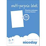 Étiquettes multifonctions Niceday 980472 Blanc 100 étiquettes   100 feuilles de 1 étiquette