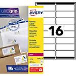 250 Feuilles d'étiquettes adresses Laser L7162   Avery   16