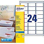 25 Feuilles pour étiquettes adresse jet d'encre   Avery   24 étiquettes 63,5 x 33,9 mm