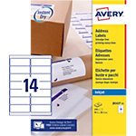 25 Feuilles pour étiquettes adresse jet d'encre   Avery   14 étiquettes 99,1 x 38,1 mm