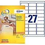 25 Feuilles d'étiquettes repositionnables laser   Avery   63,5 x 29,6 mm   L4737REV