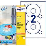 Étiquettes CD et DVD Laser, Jet d'encre Papier Cercle 50 étiquettes Avery Zweckform L6043 25   Blanc   25 Feuilles