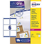 Étiquettes d'adresses Rectangle Laser 6 étiquettes par feuille Avery L7166 100 93,1 (H) x 99,1 (l) mm Blanc   100