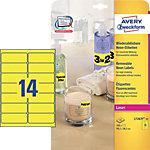 Étiquettes 14 étiquettes par feuille Avery L7263 25 99,1 (H) x 38,1 (l) mm Jaune fluo   25