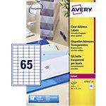 25 Feuilles Etiquettes Laser   Avery   Invisibles 38,1 x 21,2 mm