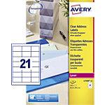 25 Feuilles Etiquettes Laser   Avery   Invisibles 63,5 x 38,1 mm