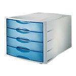 Module de classement translucide   Han   4 tiroirs bleu