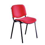 Sedia per sala d'attesa Classic rivestimento acrilico rosso
