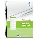 Blocco spiralato Office Depot Recycled bianco a quadretti 5x5 mm sì A4 23 (l) x 29,7 (h) cm 70 g