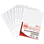 Buste Office Depot 11 buchi trasparente polipropilene 75 µm 22 (l) x 30 (h) cm 100 pezzi