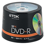 DVD R TDK da 47 GB 16x spindle da 50 pz