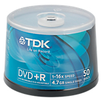 DVDR TDK 47GB 120 min 16X spindle da 50 pz