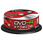 DVD R Emtec 47GB 120 min 16x spindle da 25 pz