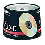 CD R 700 MB 52x Printable TDK spindle da 50 pz