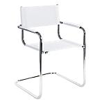 Sedia per visitatore Comfort pelle bianco 2 pezzi