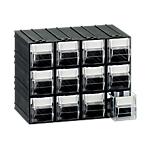 Cassettiera componibile 12 cassetti 22,5 (l) x 16,9 (h) x 13,3 (p) cm nero trasparente