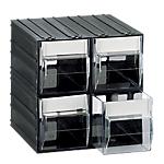 Cassettiera componibile 4 cassetti 22,5 (l) x 22,5 (h) x 22,5 (p) cm nero trasparente