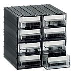 Cassettiera componibile 8 cassetti 571,5 (l) x 571,5 (h) x 571,5 (p) cm nero trasparente