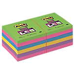 Foglietti riposizionabili Post it Super Sticky assortiti 76 x 76 mm 70 g