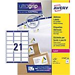 Etichette Avery Zweckform QuickPeel L7160 100 bianco 63,5 (l) x 38,1 (h) mm 2100 etichette 100 fogli